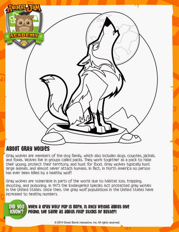 Animal Jam Academy Gray Wolves Page