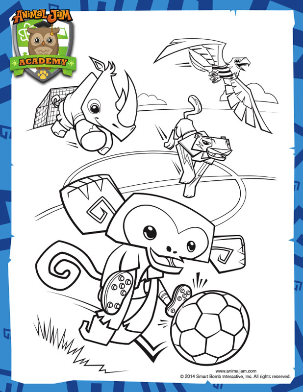 Animal Jam Academy Soccer Cup Coloring Page