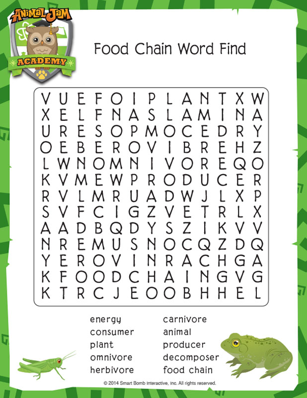 Animal Jam Word Search
