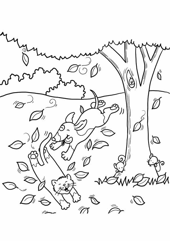 Animals in Fall Coloring Page