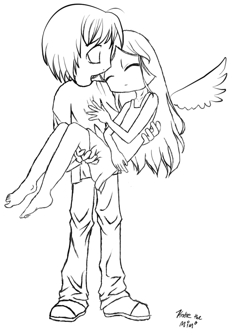 Anime Angel Drawing Coloring Page
