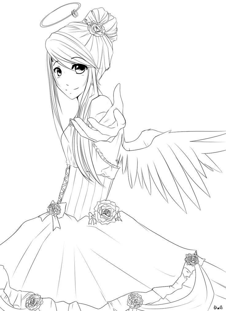 Anime Petty Angel Coloring Page