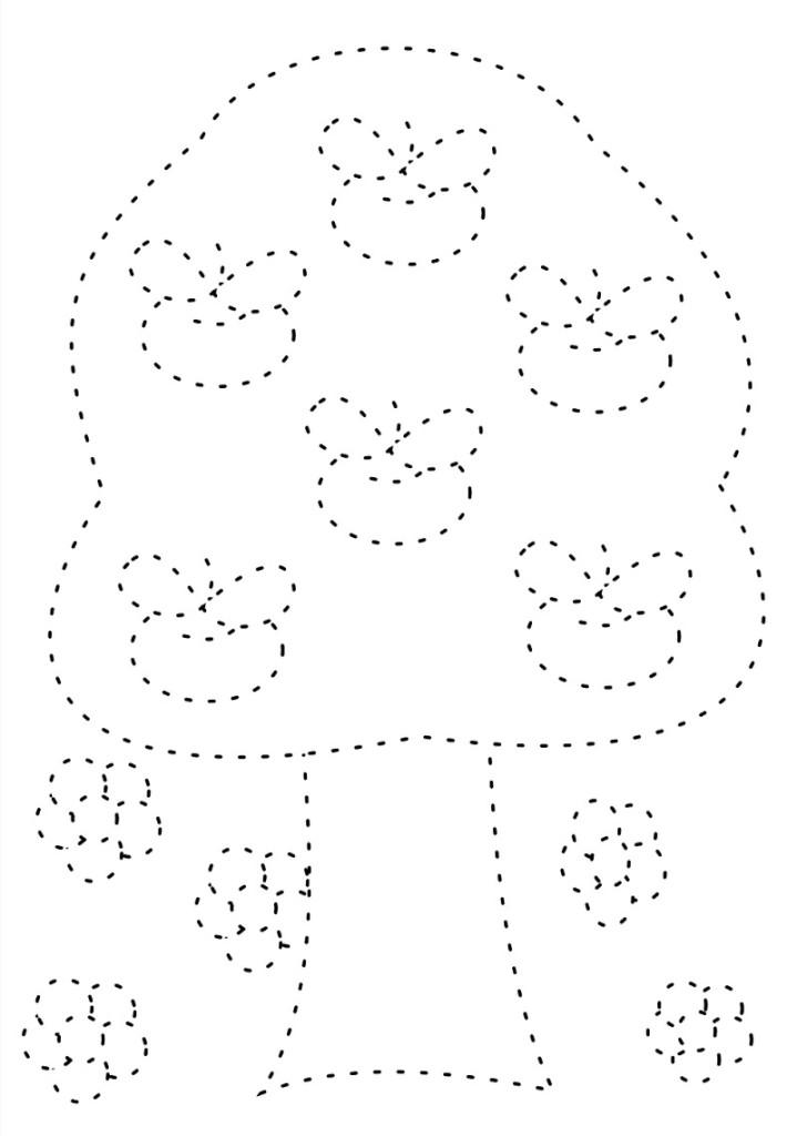 Apple Tree Tracing Worksheet for Kindergarten