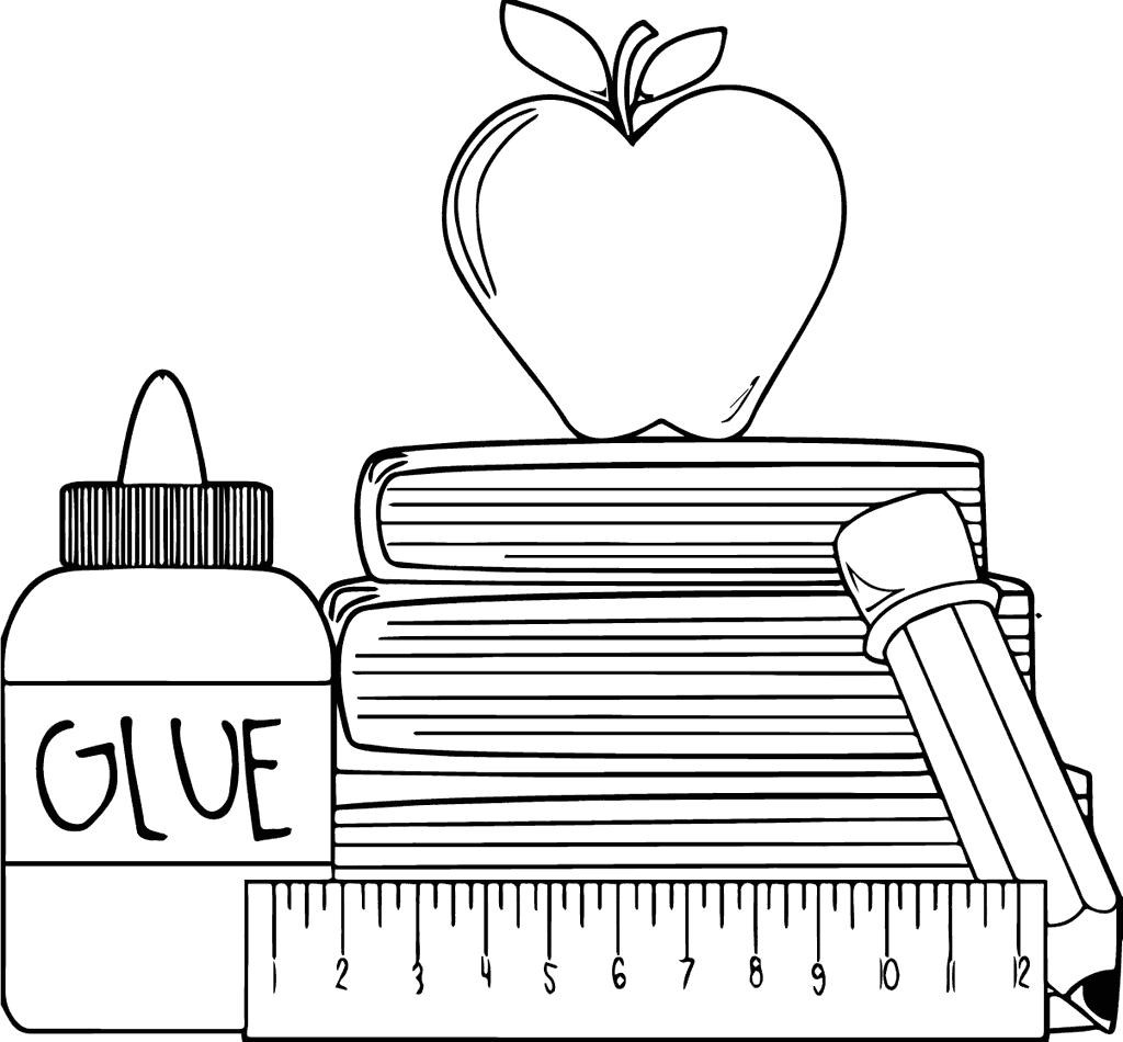 Apple and School Supplies Coloring Page