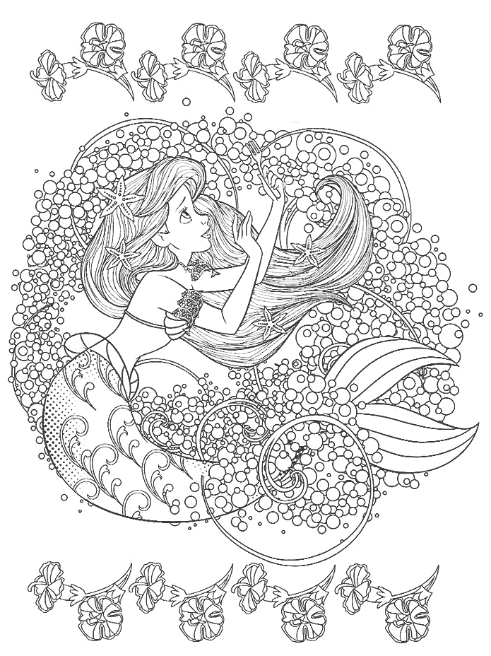 Ariel Disney Coloring Pages for Adults