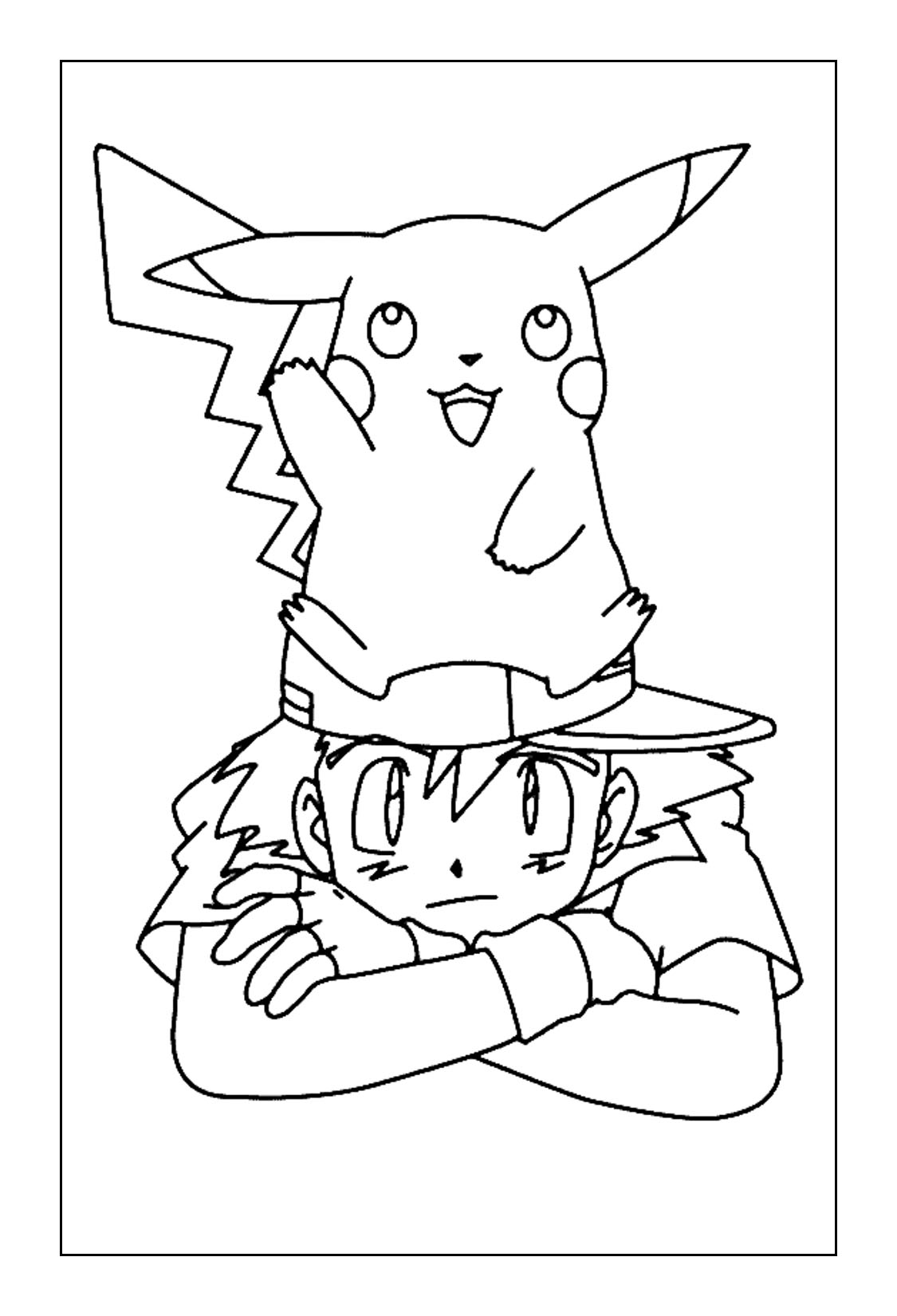 Ash and Pikachu Coloring Pages