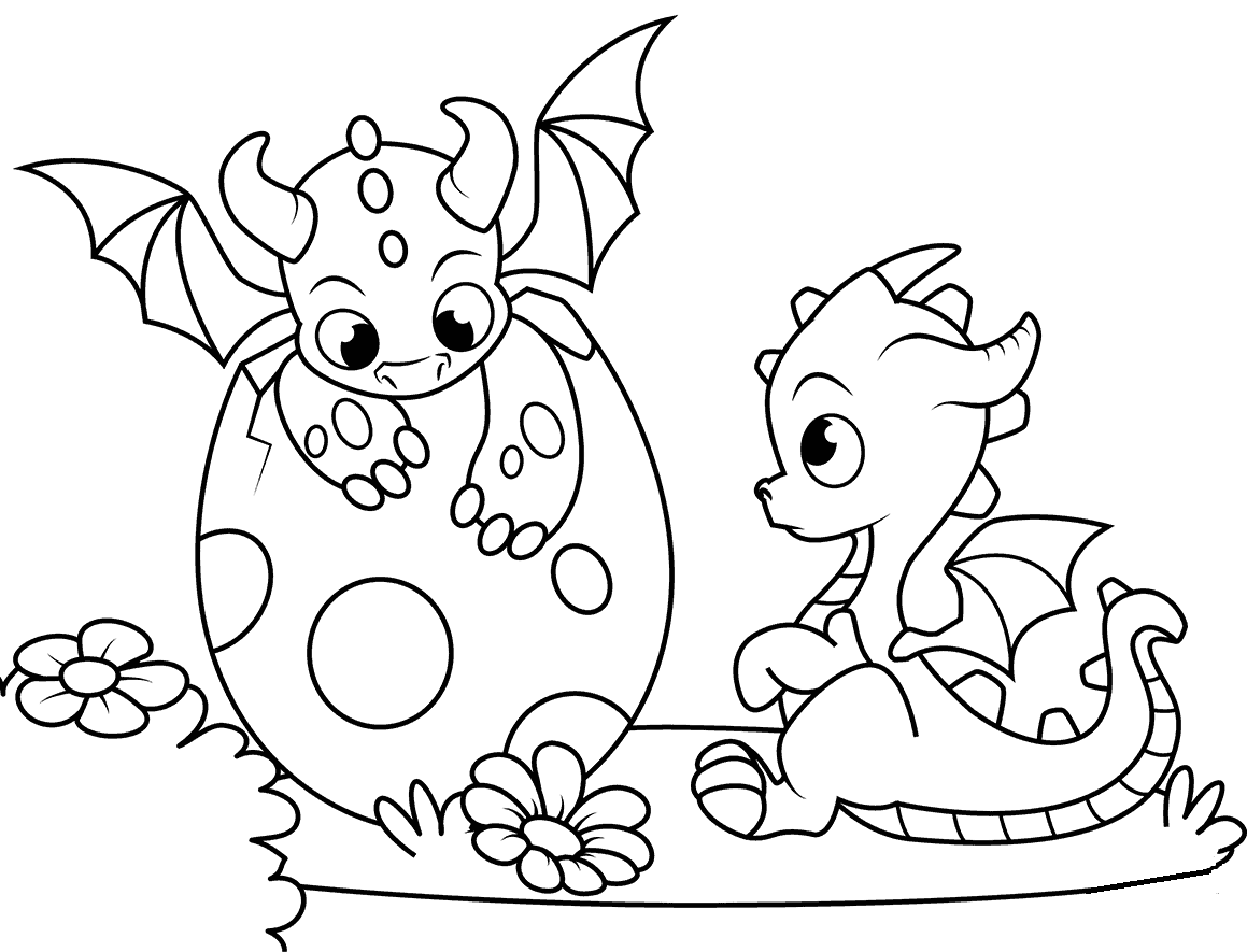 Baby Dragon Hatching Coloring Page