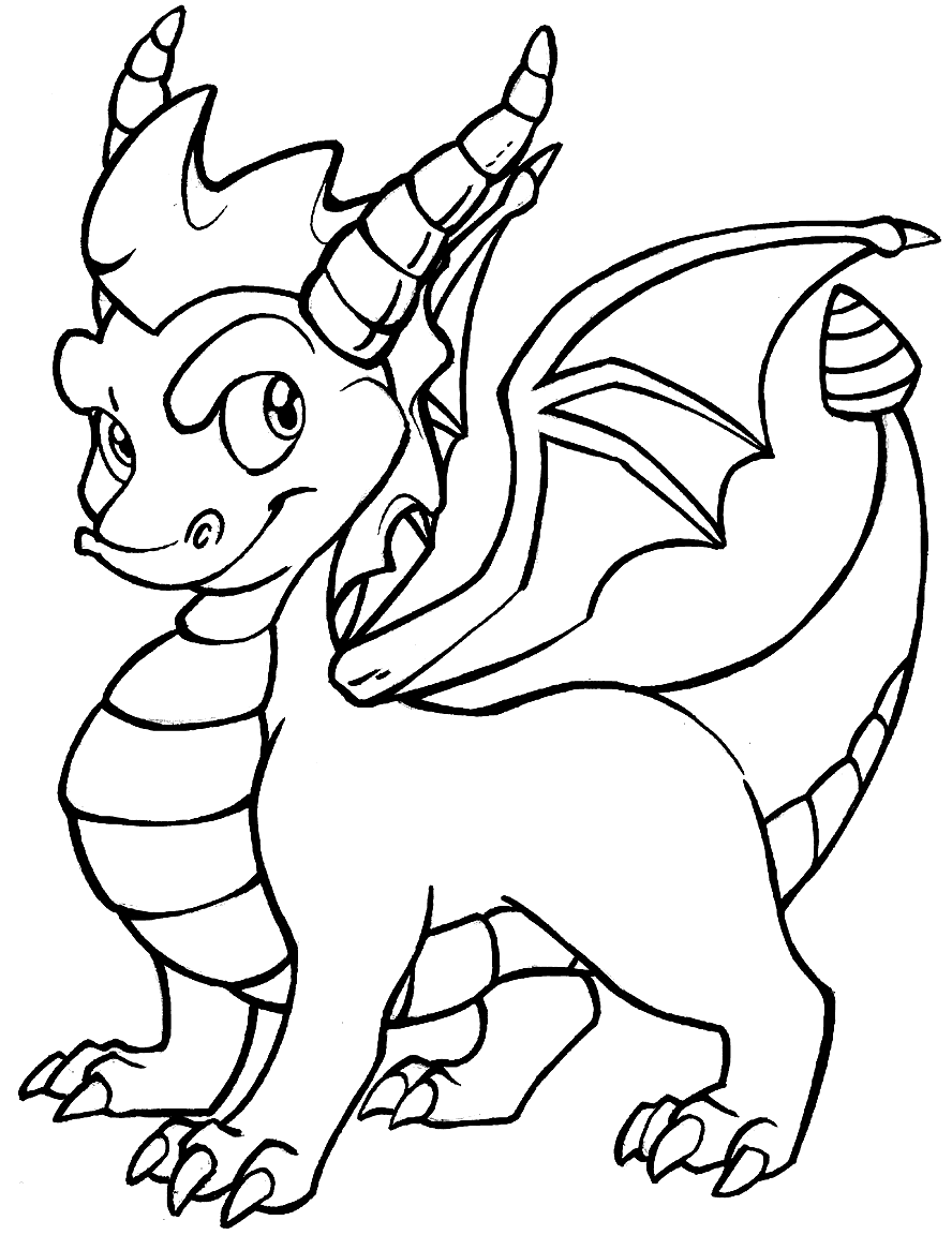 Baby Dragon with Horns Coloring Page