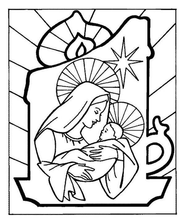 Baby Jesus and Mary Bible Coloring Pages