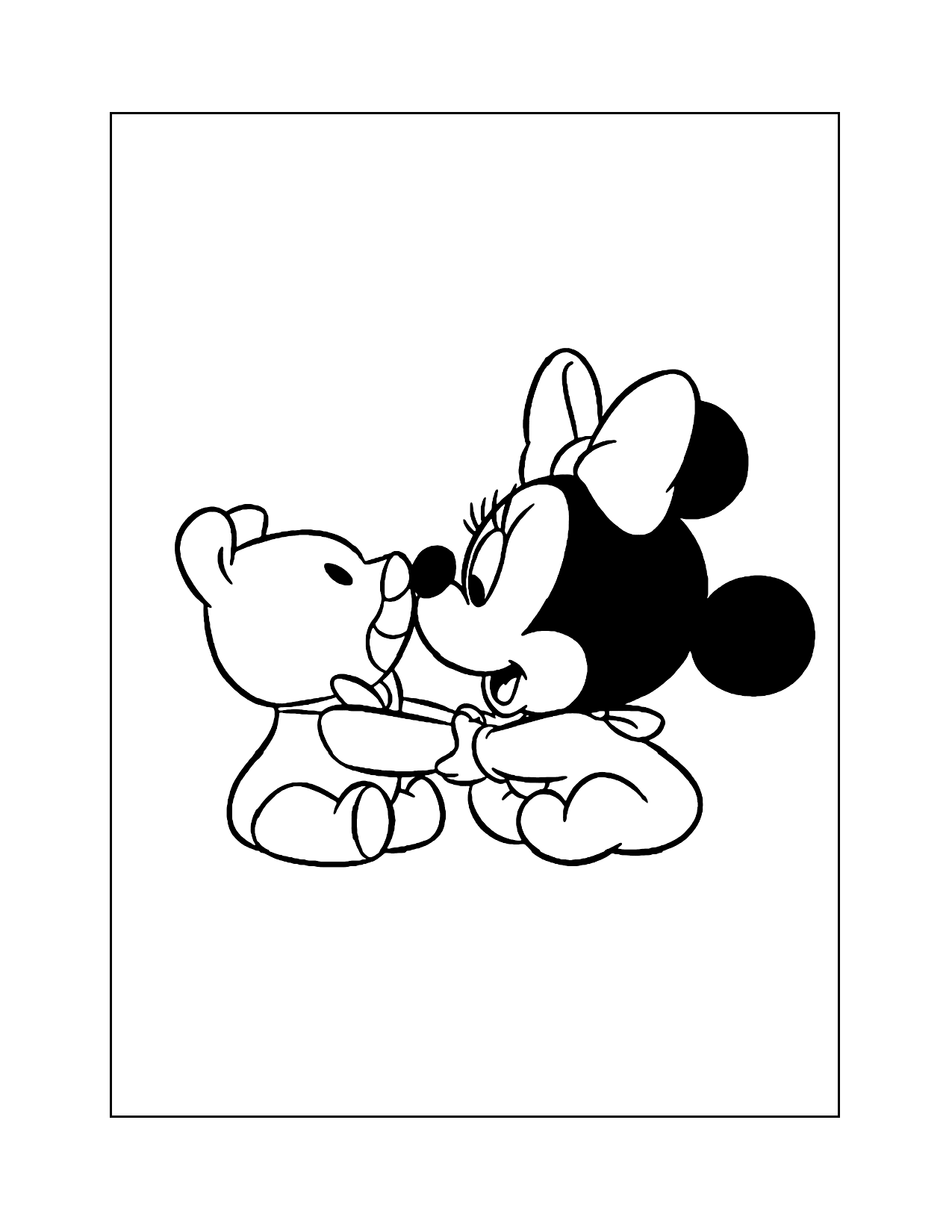Baby Minnie With Teddy Coloring Page