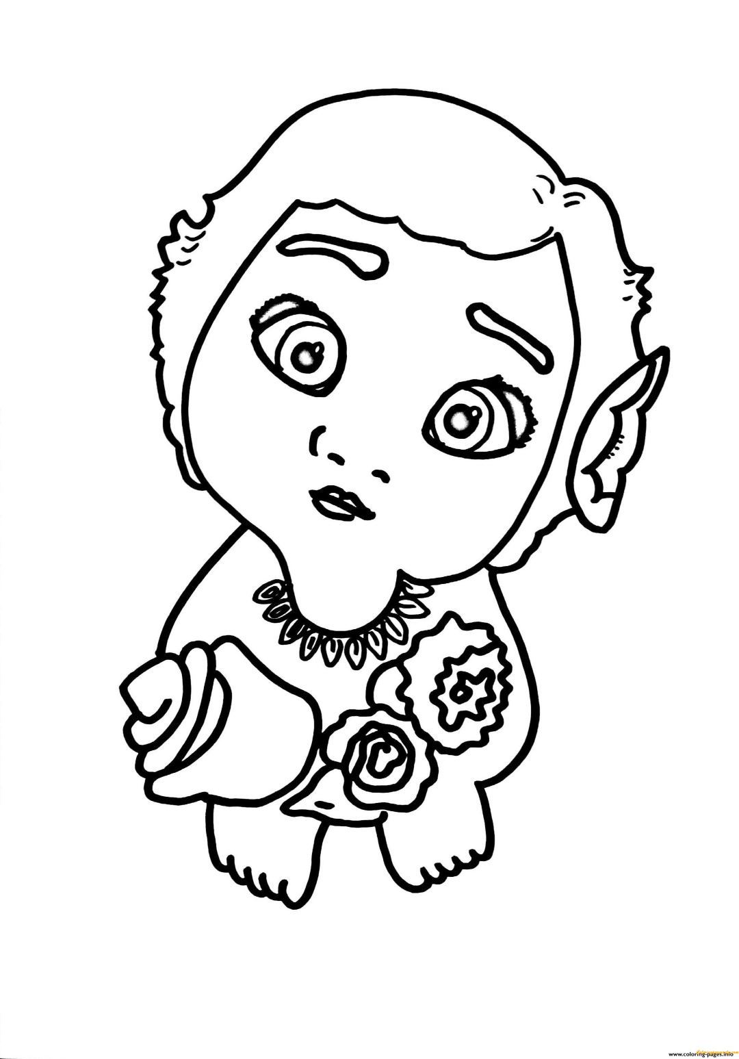 Baby Moana Line Art to Color