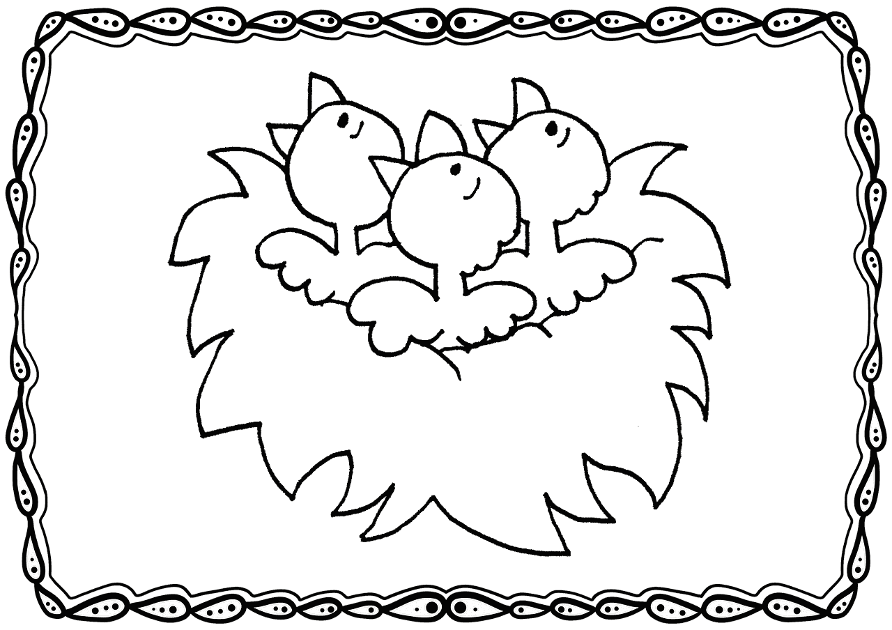 Baby Robins In Nest Coloring Page