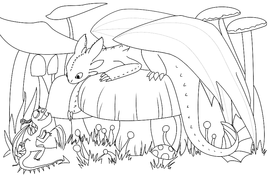 Baby Toothless Dragon Coloring Page