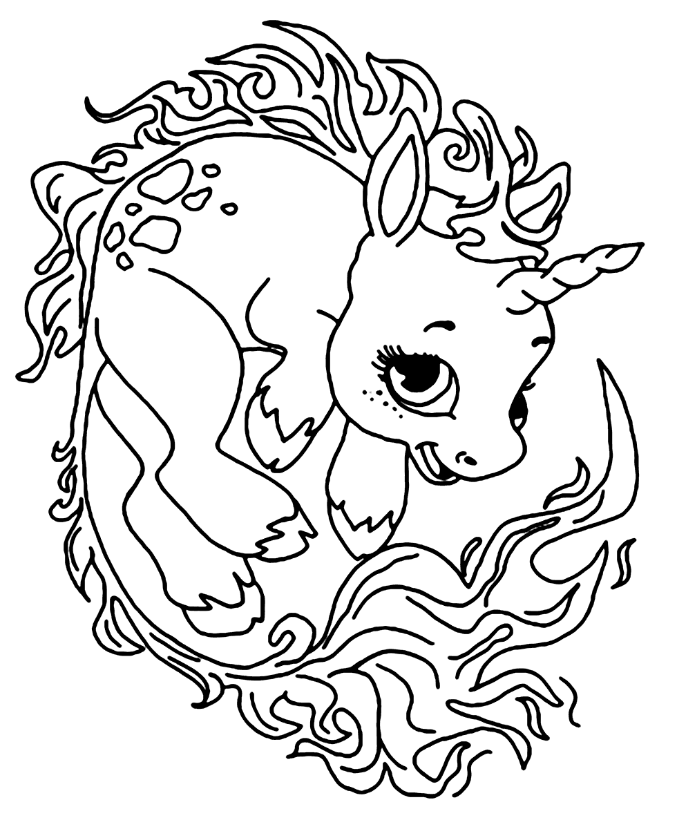 Baby Unicorn Coloring Page Coloring Rocks