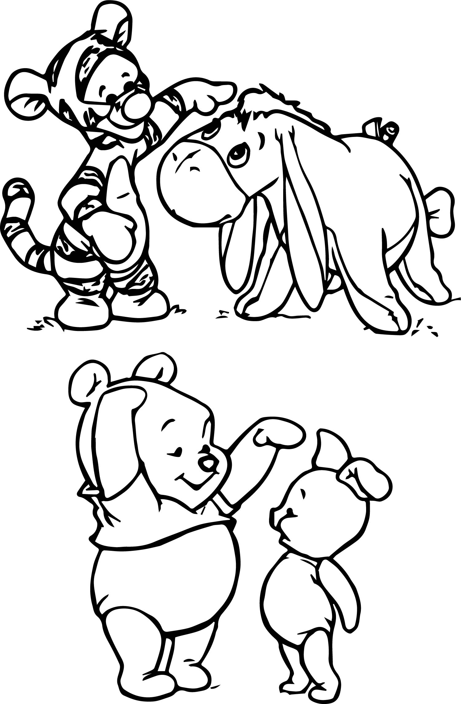 Baby Winnie the Pooh Characters Coloring Pages