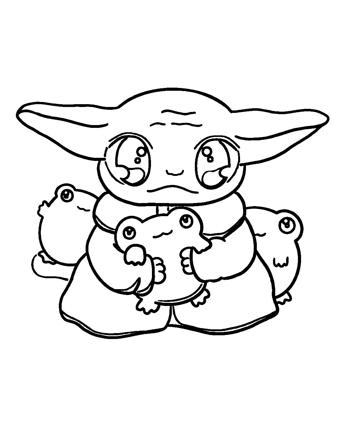 Baby Yoda And Frogs Coloring Page