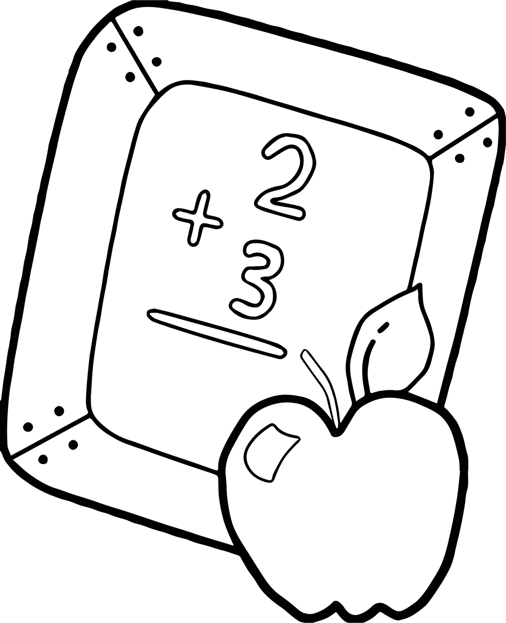 Back to School Apple Math Coloring Page