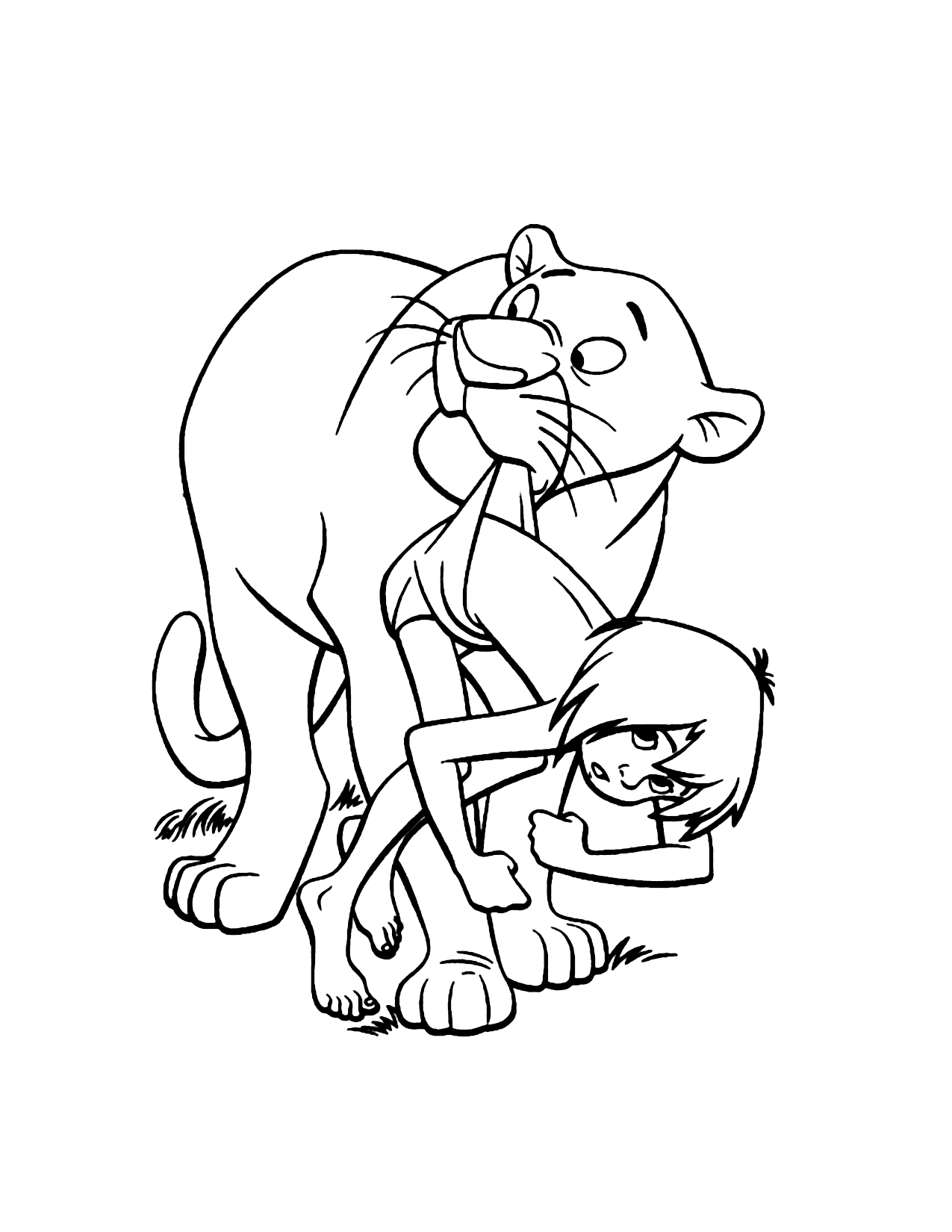 Bagheera Protects Mowgli Jungle Book Coloring Page