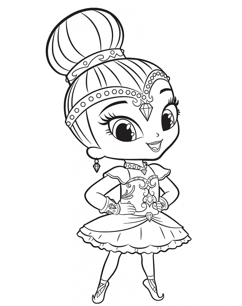 Ballerina Shimmer and Shine Coloring Page