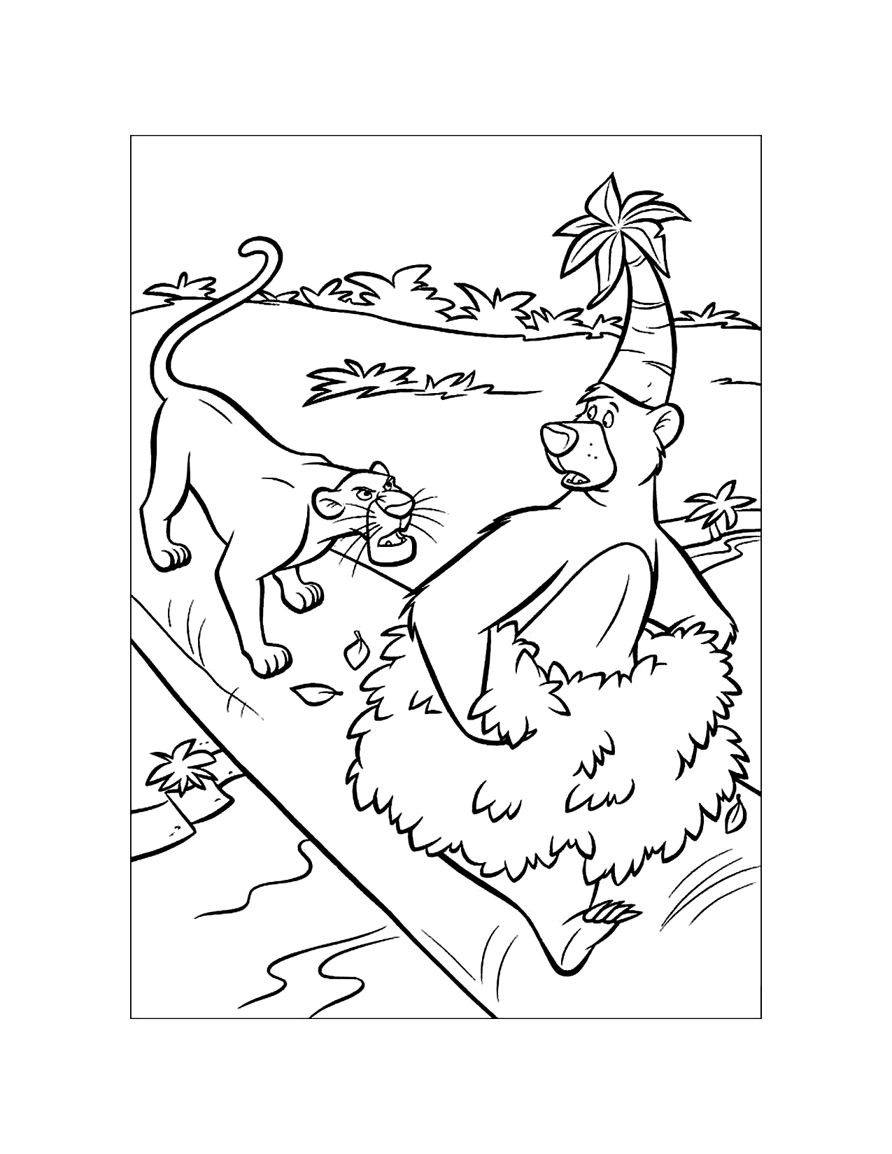 Baloo Gets In Trouble Jungle Book Coloring Page