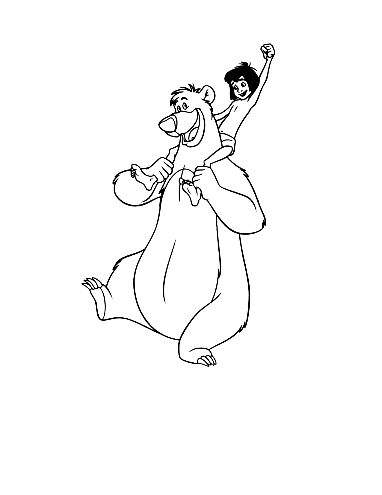 Baloo And Mowgli Coloring Page