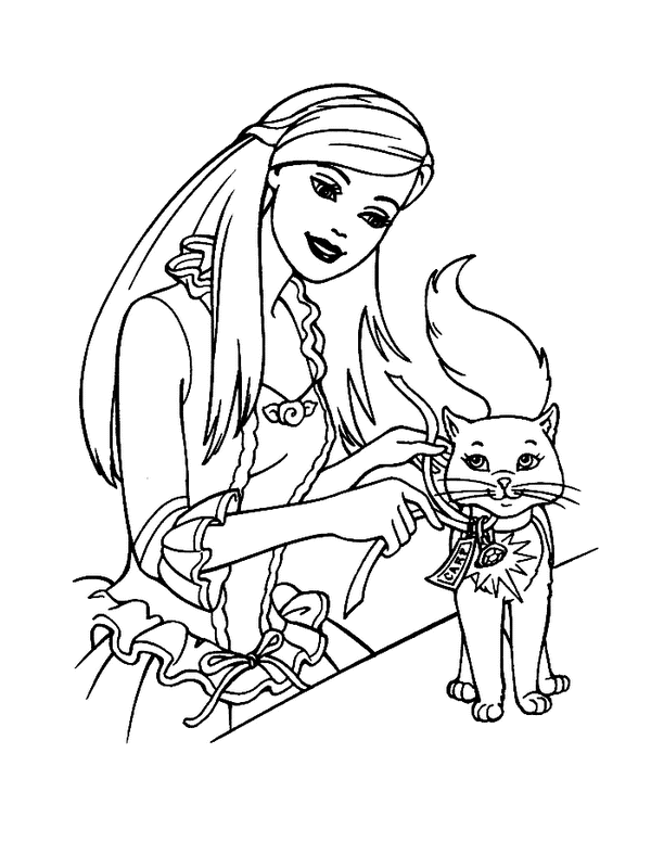 Barbie Cat Coloring Pages