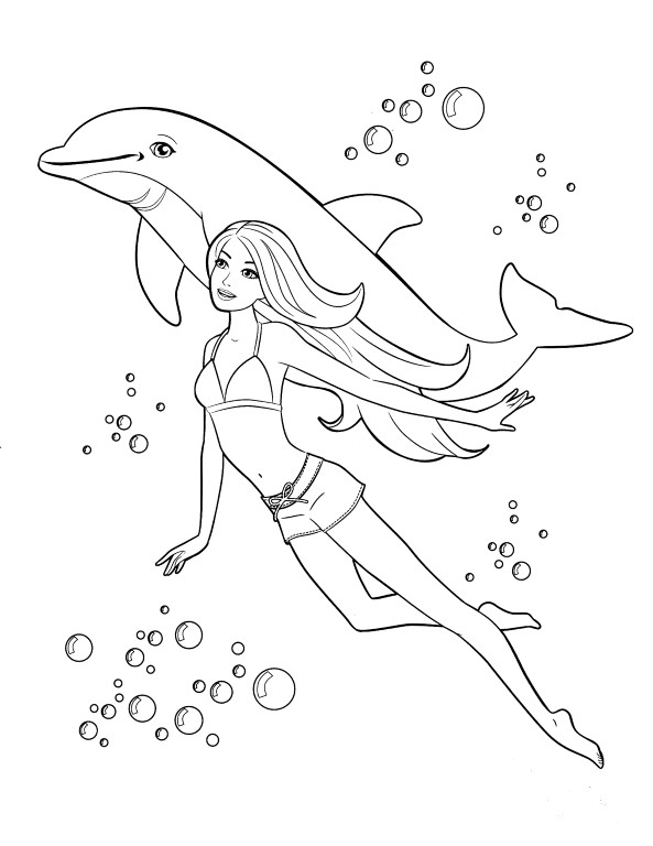 Barbie Mermaid and Dolphin Coloring Page