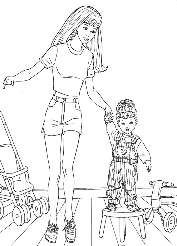 Barbie Sister Coloring Page