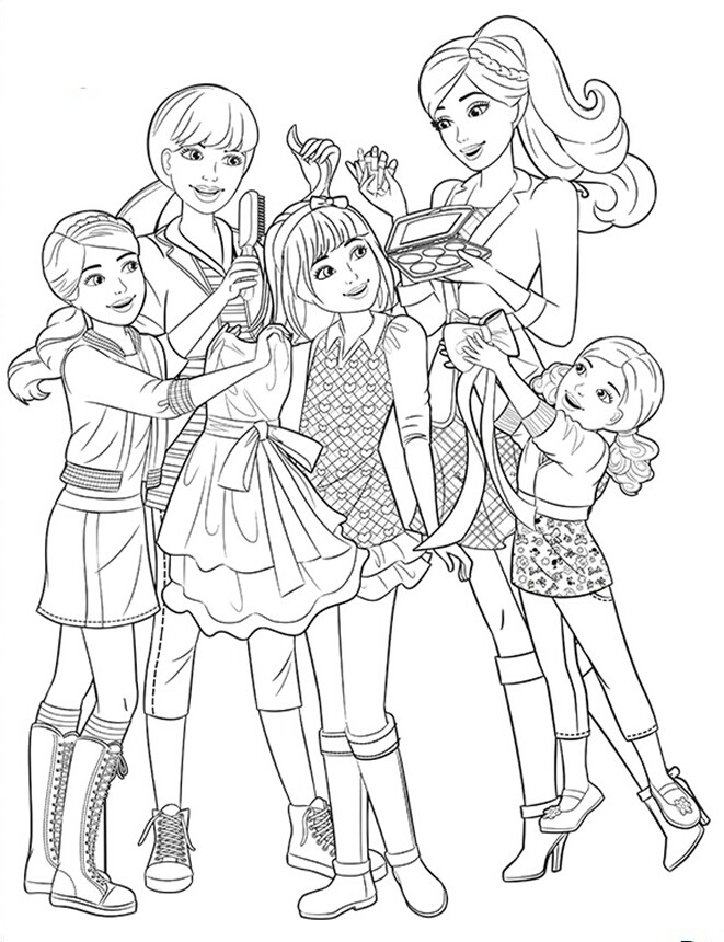 Barbie Sisters Coloring Page