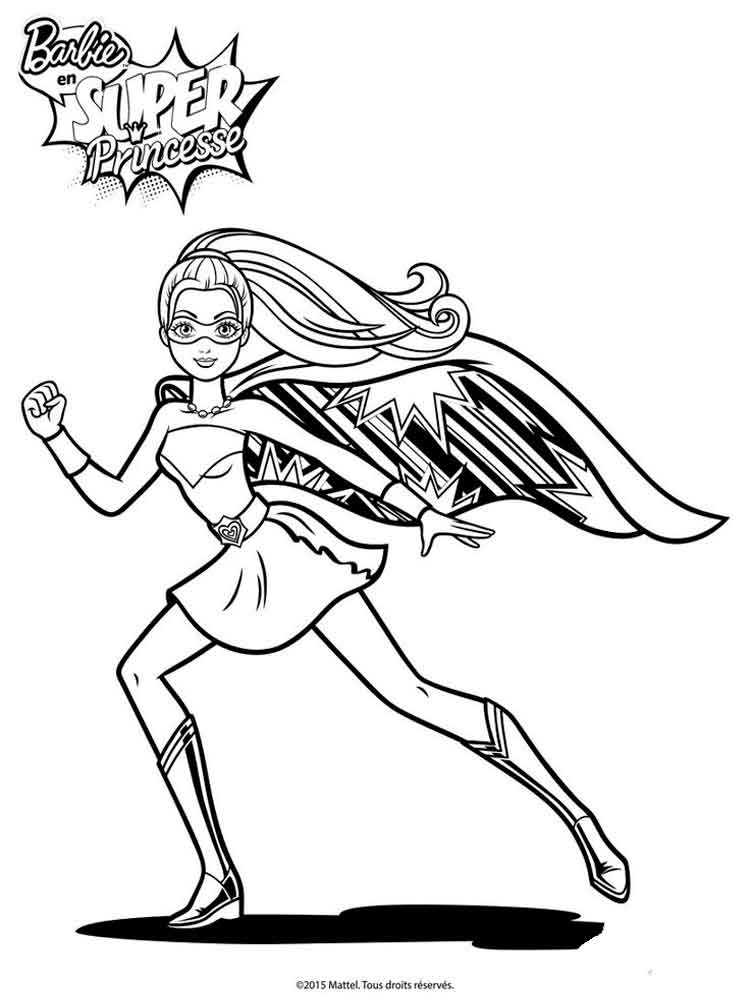 Barbie Superhero Coloring Page
