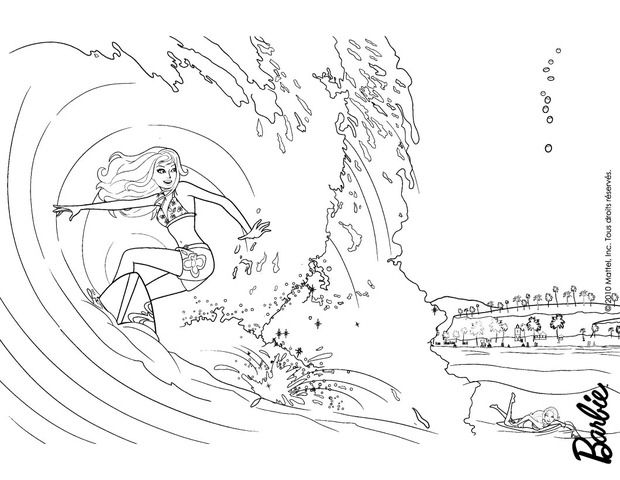 Barbie Surfing Coloring Page