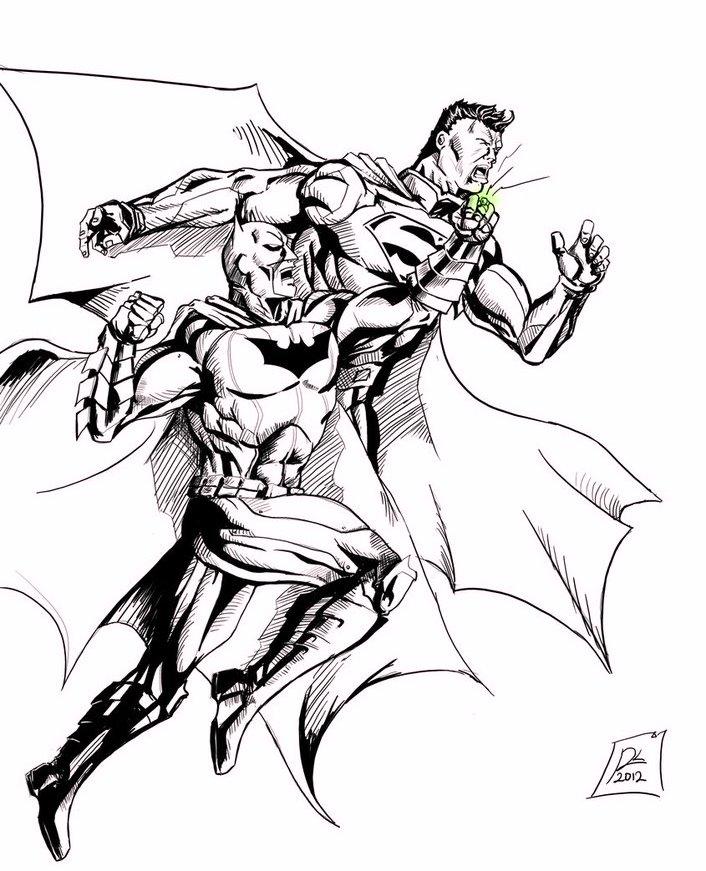 Batman Vs Superman Drawing for Coloring