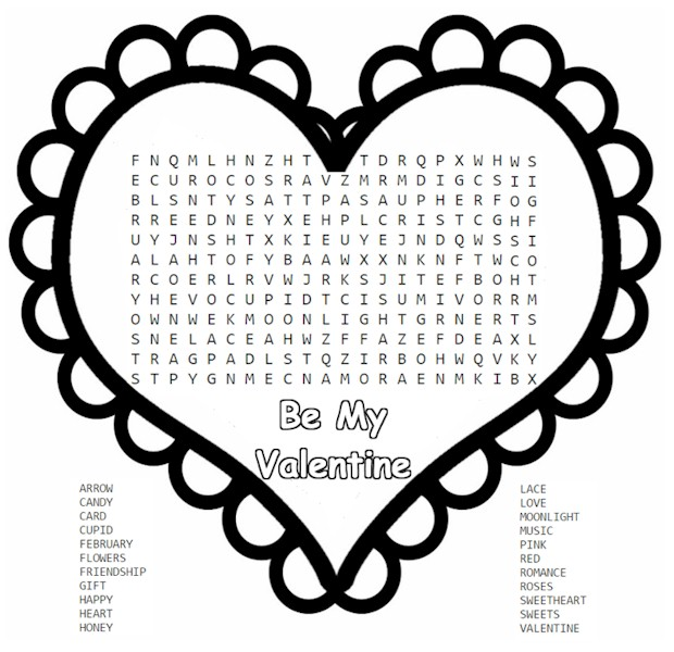 photograph about Valentine Word Searches Printable named Valentine Phrase Appear and Puzzles coloring.rocks!