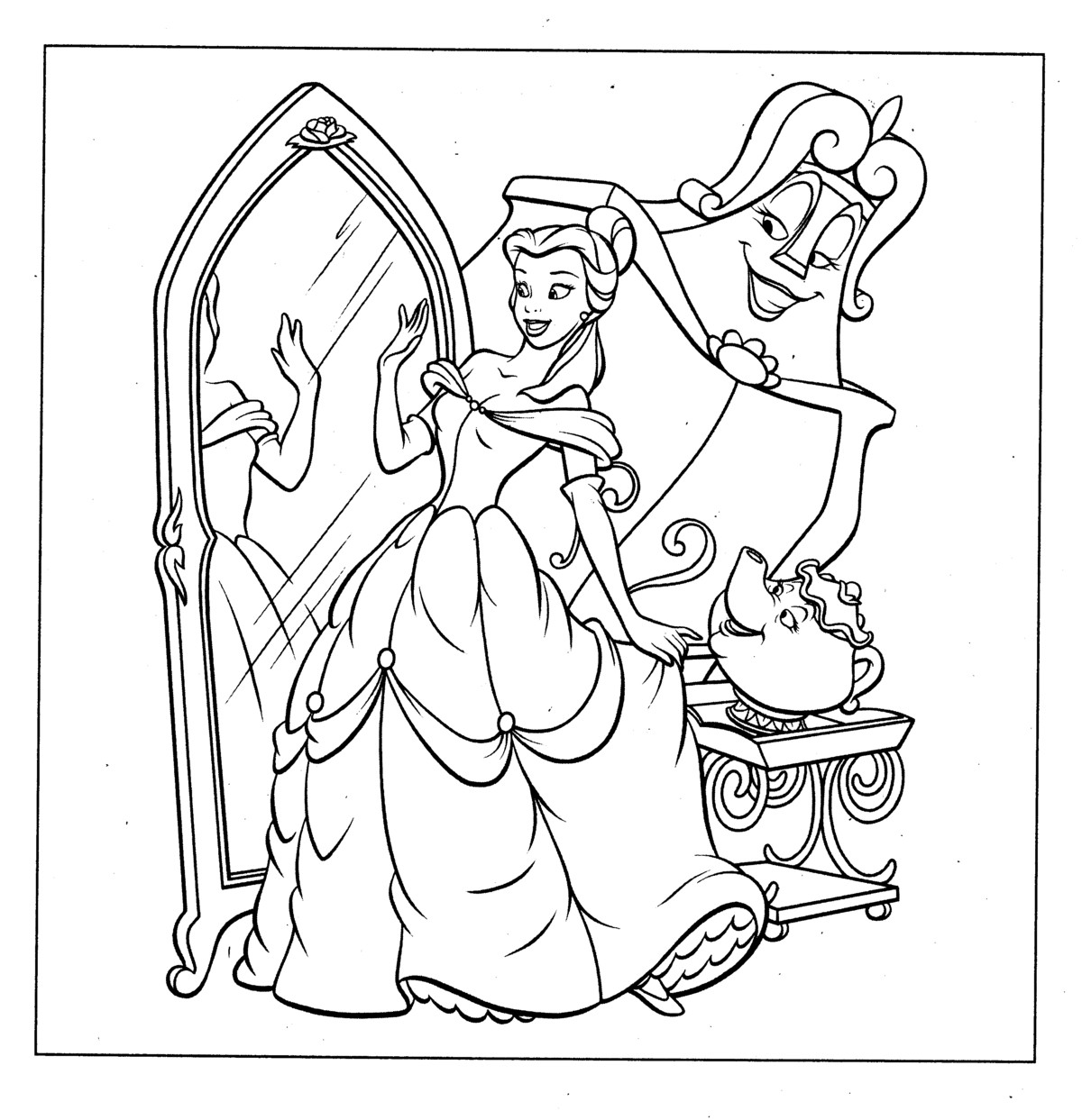 Be Our Guest Belle Coloring Page