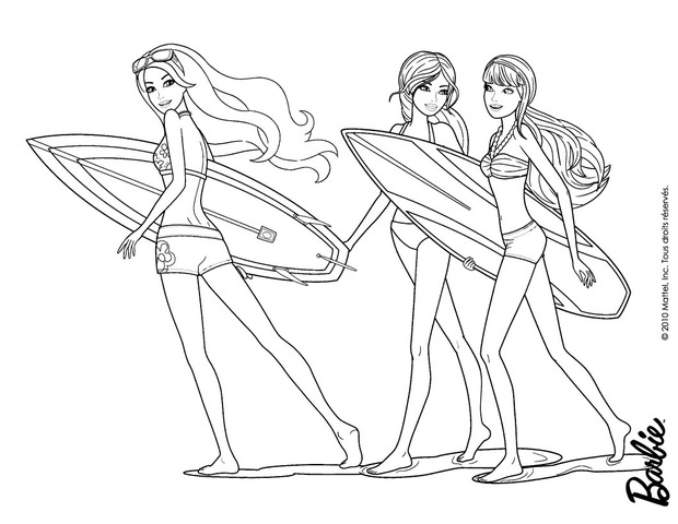 Beach Barbie Coloring Pages