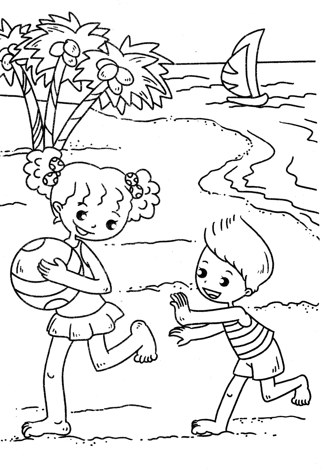 Beach Fun Coloring Page