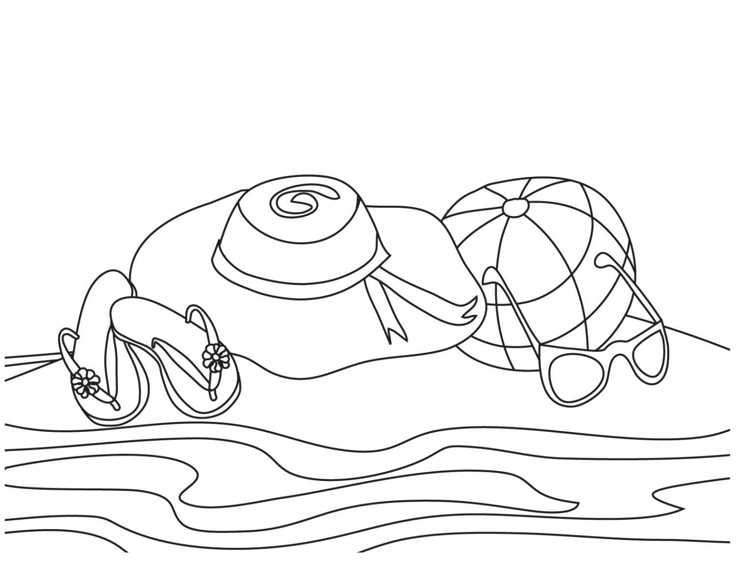 Beach Hat Coloring Page