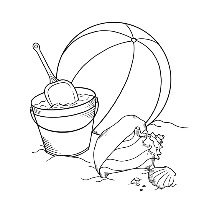 Beach Things Coloring Page
