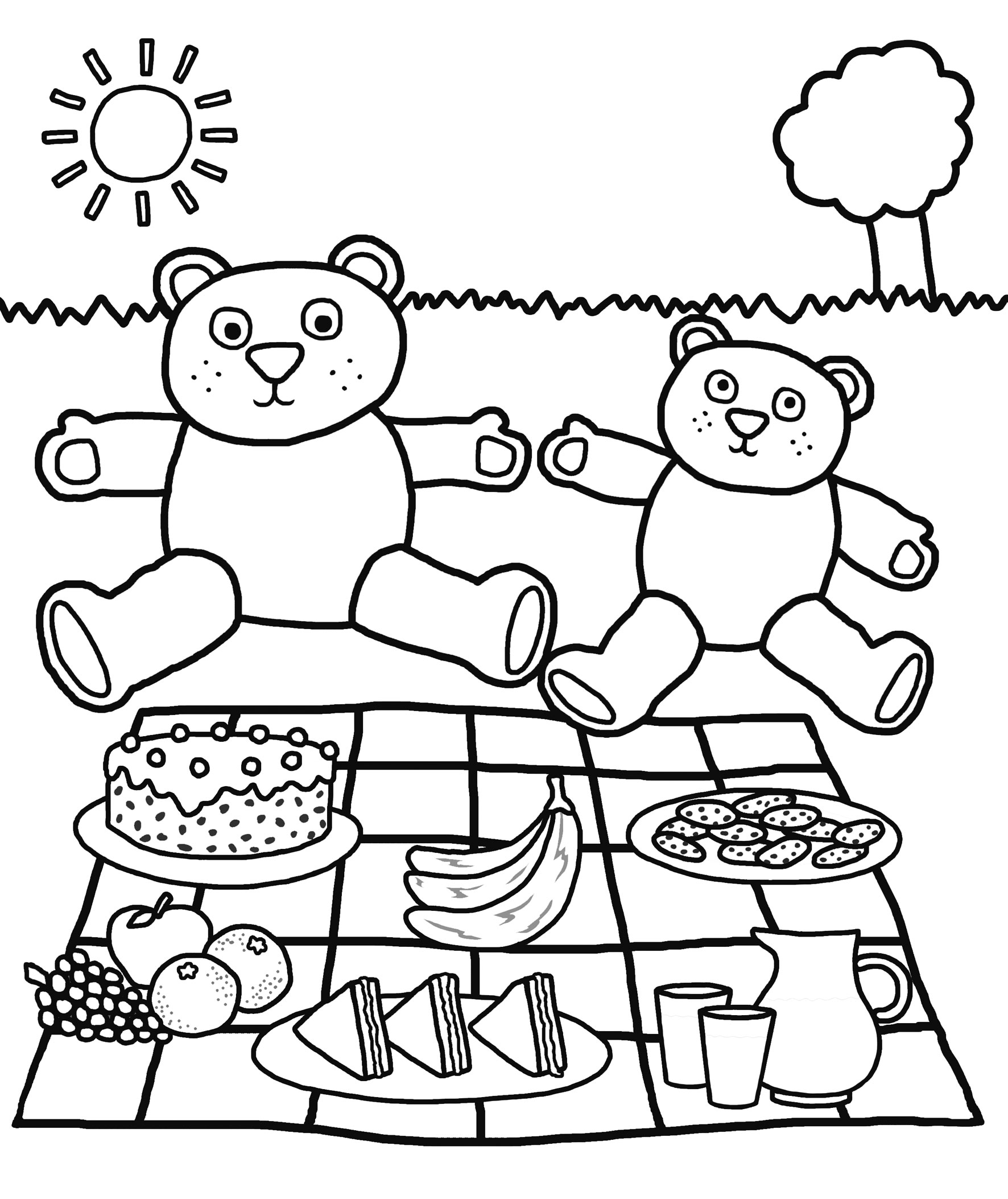 Bear Picnic Kindergarten Coloring Pages