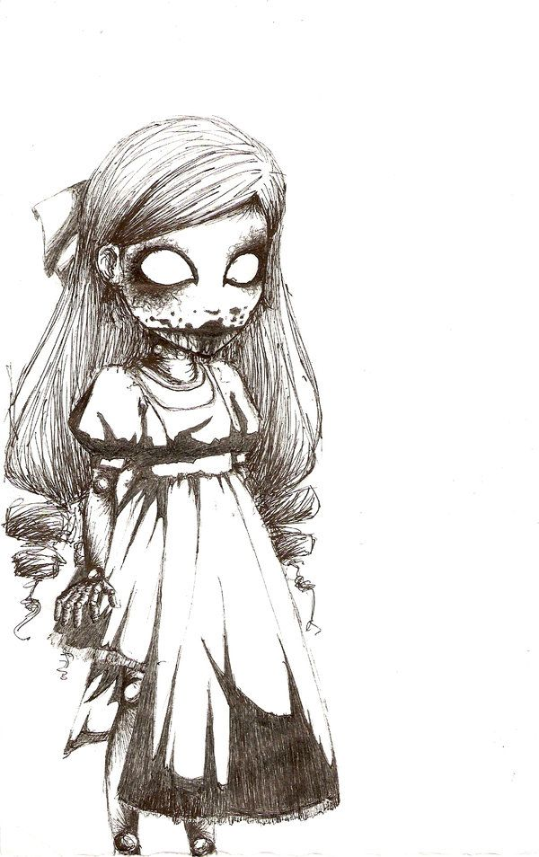 Beautiful Creepy Doll Drawing to Color
