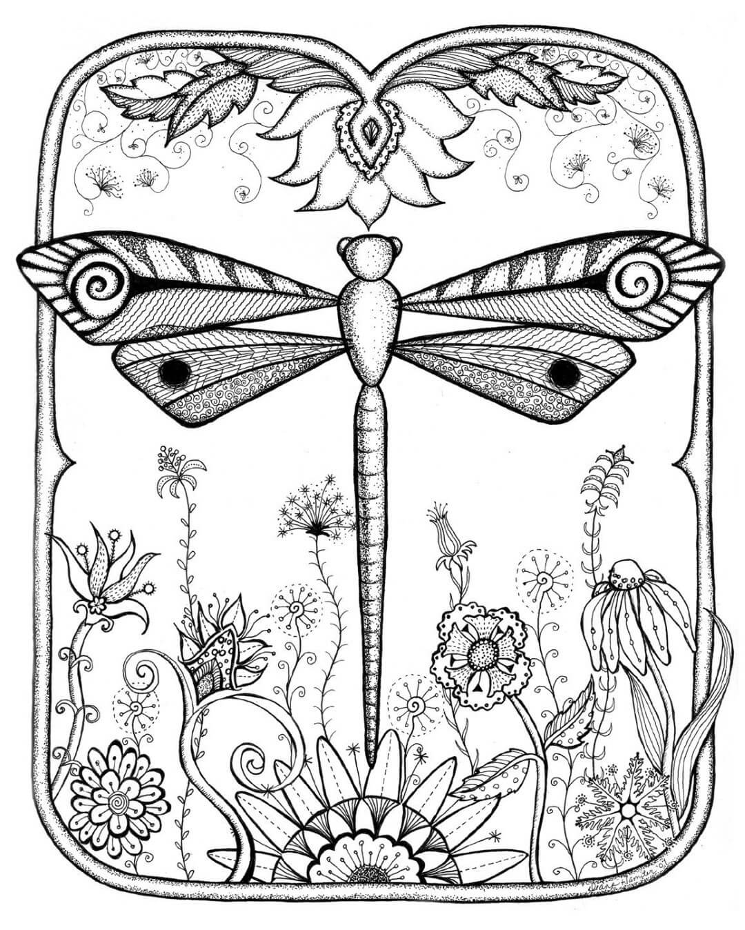 Beautiful Dragonfly Coloring Pages