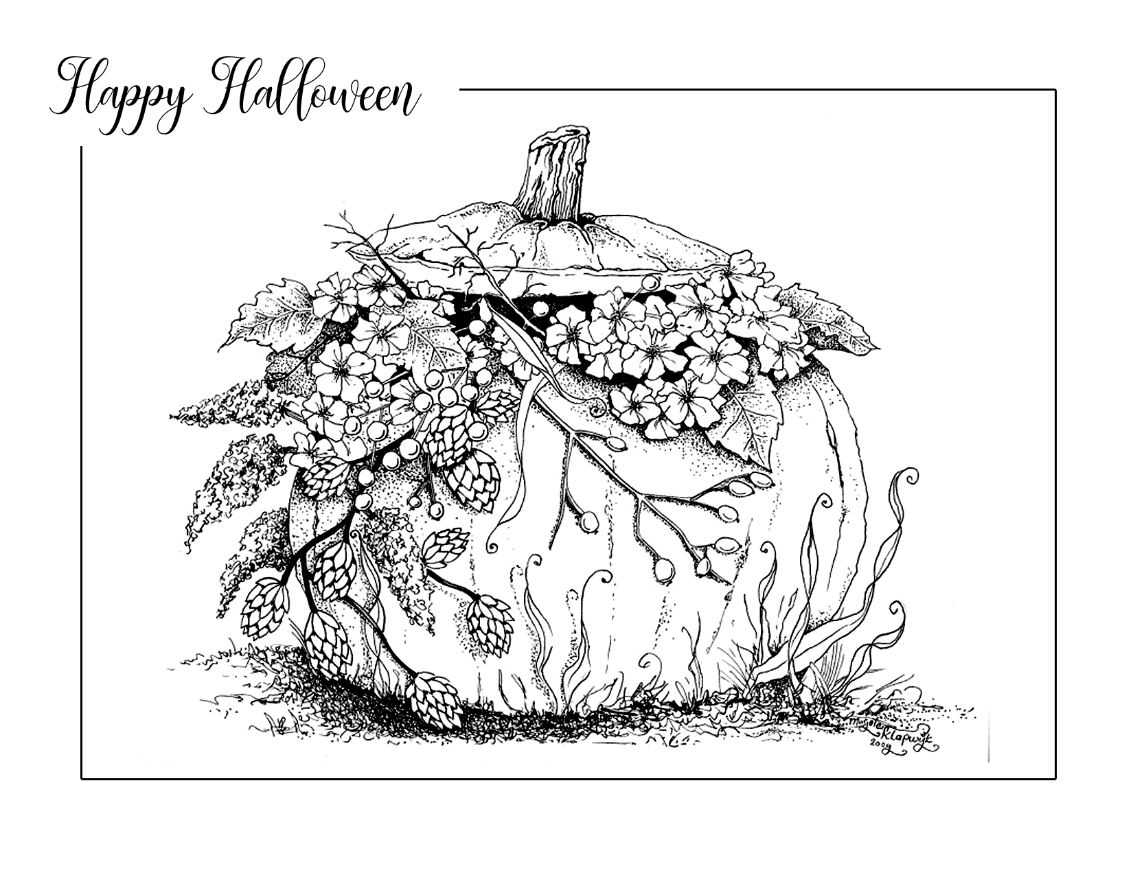 Beautiful Halloween Pumpkin Coloring Page For Adults