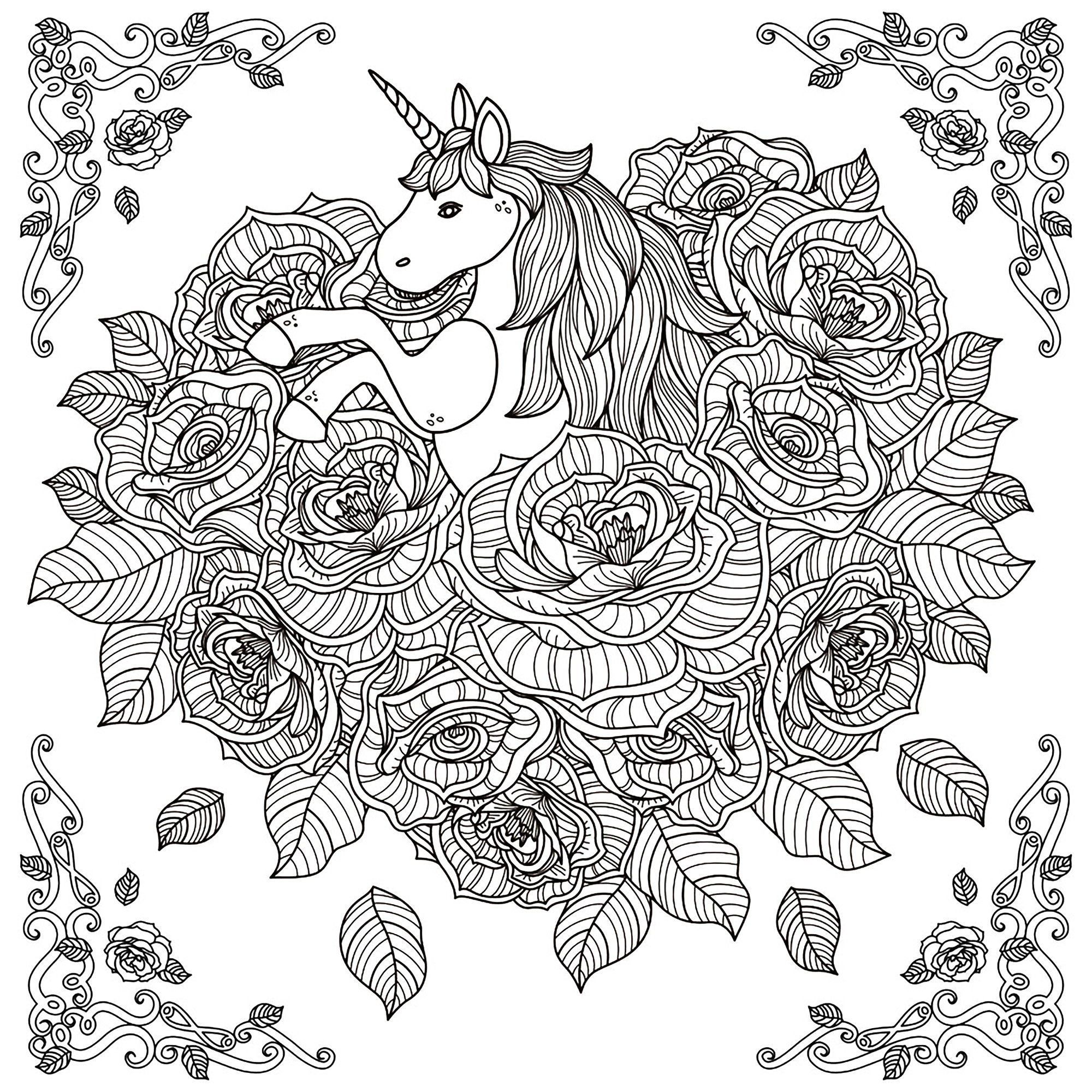 Beautiful Unicorn and Roses Art for Adult Coloring