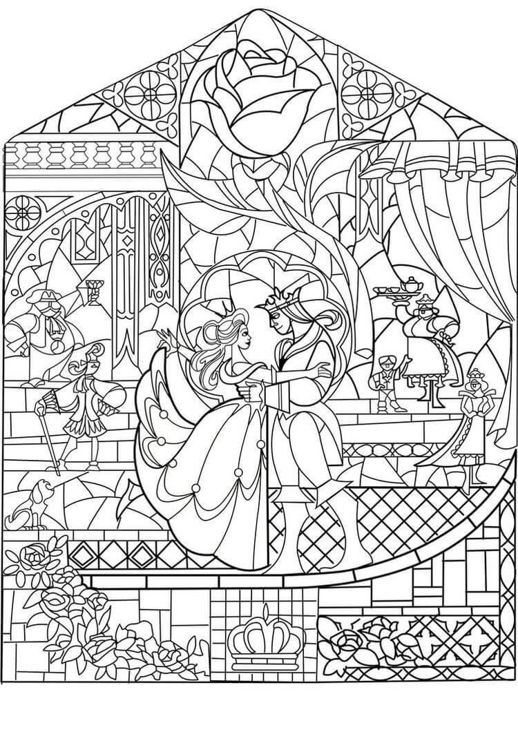 Beauty and The Beast Disney Coloring Pages for Adults