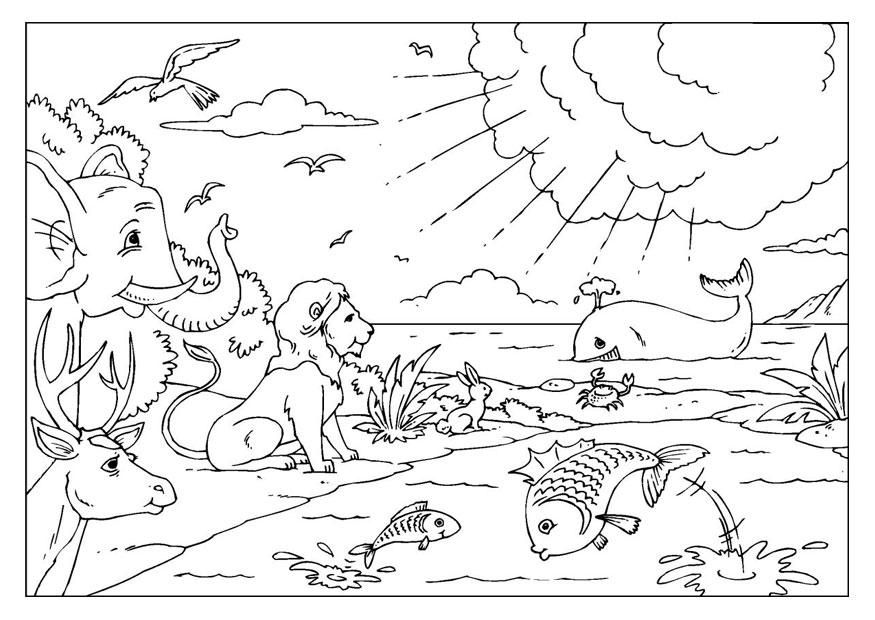 Bible Coloring Page - Adam and Eve Exiled from Eden ... | 620x875
