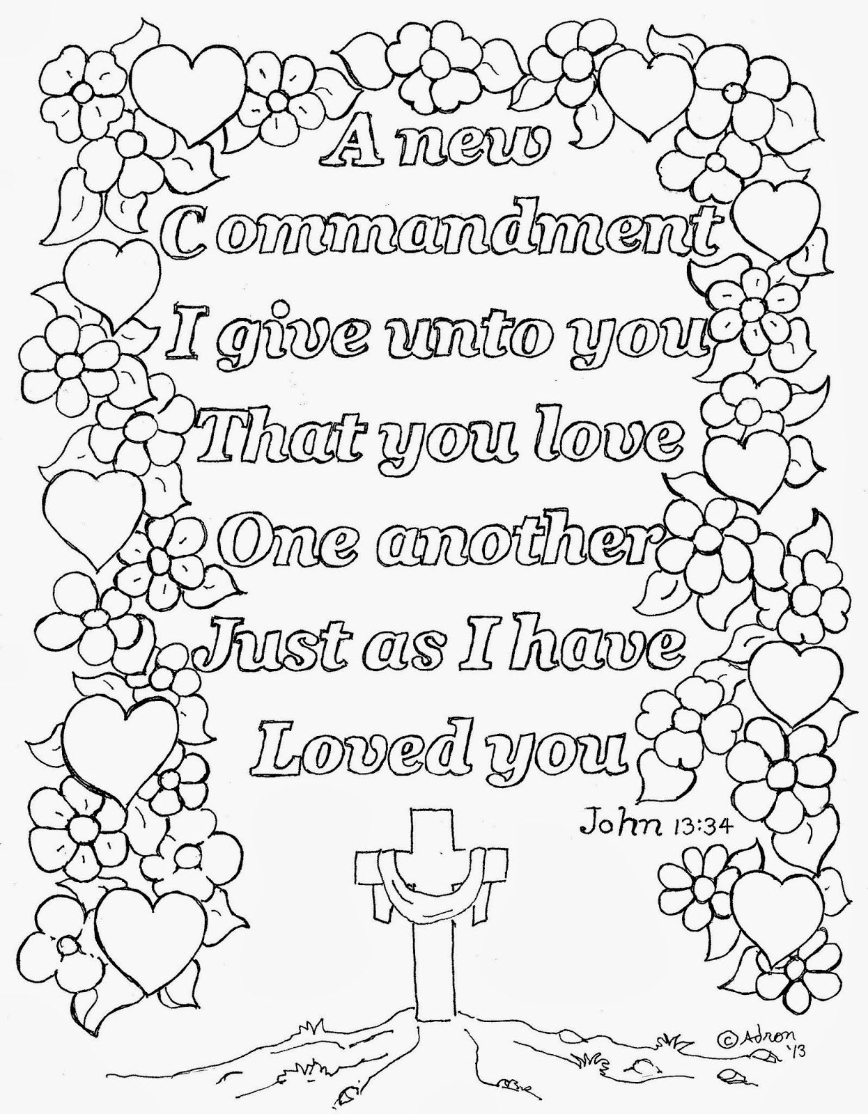 Bible Coloring Pages - Love One Another - John
