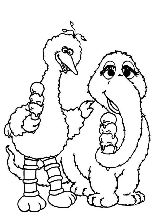 Big Bird and Snuffy Coloring Page