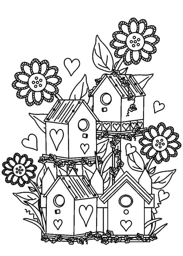 Birdhouse Garden Coloring Page