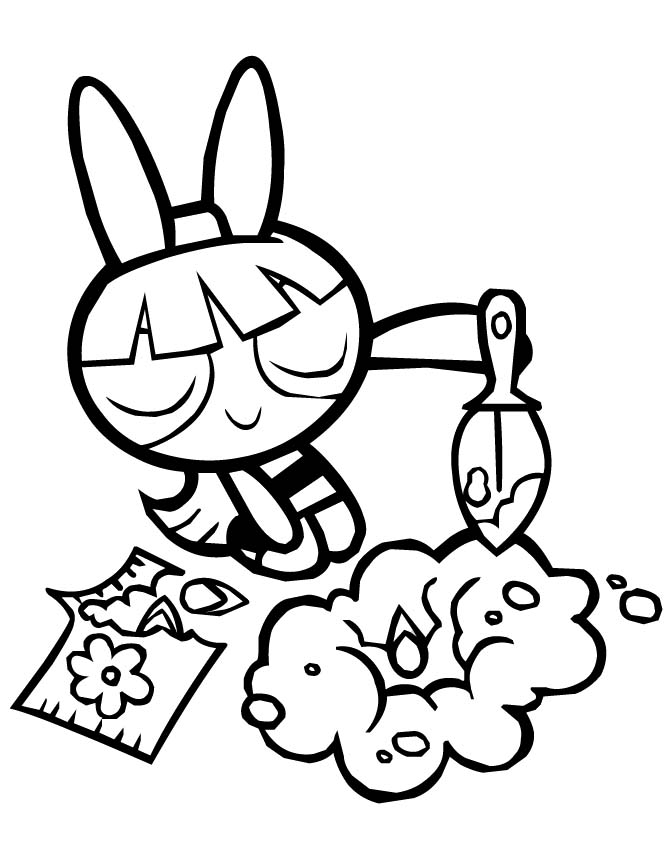 Blossom Planting Seeds Powerpuff Girls Coloring Pages