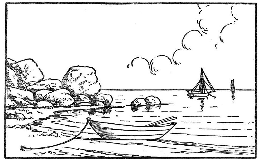 Boats at Beach Coloring Pages
